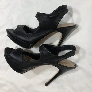 "Via Spiga Open Toe 5"" Black Leather Heels 8M"